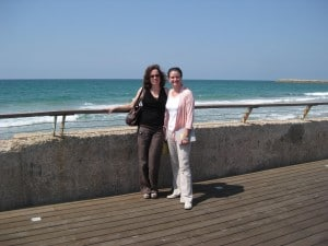 Efrat Carm (left) poses with Sara Feldman (right) during their collaboration in Israel.